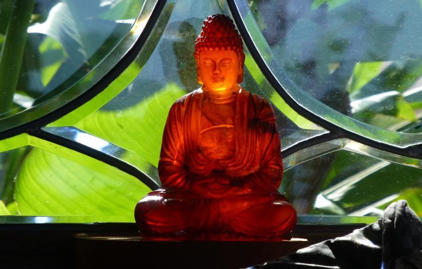 garden window Buddha - let the light shine through